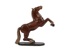 Carved and lacquered wooden horse for a Nativity