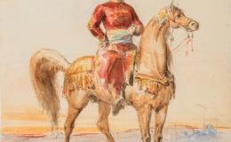 Portrait of Zulfiqar Pasha astride ahorse